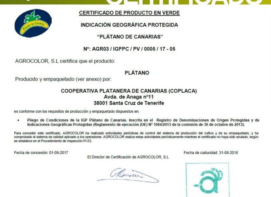 Certificado IGP de Coplaca OPP